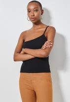 Superbalist - Rib thin strappy one shoulder top - black