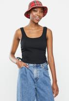 Blake - Ribbed ruched tank top with ties - black