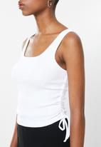 Blake - Ribbed ruched tank top with ties - white