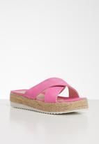 Seduction - Criss-cross flatform sandal - pink