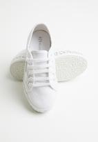 SUPERGA - Junior mid-wedge - white & silver