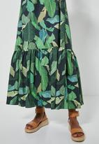 Superbalist - Square neck tiered dress - green