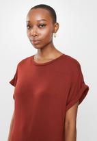 edit - Knit grown on sleeve slit maxi - brick