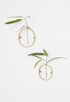 Sixth Floor - Circle wall mounted stem vase set of 2 - gold