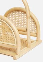 Sixth Floor - Mika cane magazine rack - natural