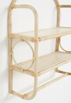 Sixth Floor - Loopy cane wall shelf - natural