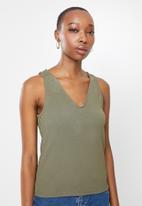 edit - Deep v-neck texture vest - khaki