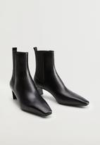 MANGO - Agua leather ankle boot - black