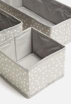 Sixth Floor - Spotty accessory storage set of 3 - grey & white