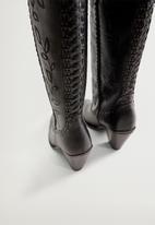 MANGO - Leef leather boot - black