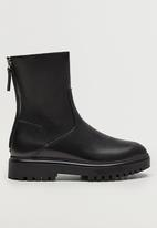 MANGO - Hector leather boot - black