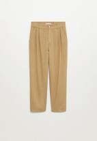 MANGO - Trousers relax - brown