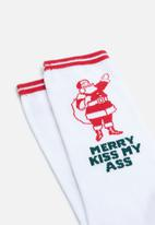 Cotton On - Merry kiss my socks - white & red