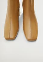 MANGO - Sol leather ankle boot - tan