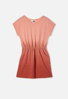 Cotton On - Sigrid short sleeve dress - peach & rust