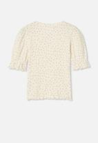 Cotton On - Lyla rib trumpet sleeve top - yellow