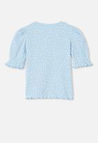 Cotton On - Lyla rib trumpet sleeve top - blue