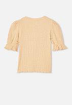 Cotton On - Lyla rib trumpet sleeve top - peach