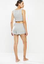 Missguided - Frill crop vest and short pyjama set -grey