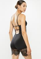 Missguided - Lace hem unitard shapewear - black