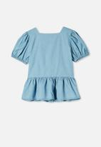 Free by Cotton On - Shiloh puff sleeve top - blue