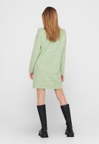 Jacqueline de Yong - Ziza long sleeve frill dress knit - swamp melange