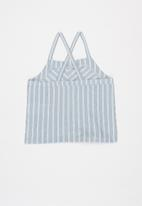 KIDS ONLY - Sharon sleeveless knot top - blue & white