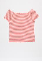 KIDS ONLY - Aroma off shoulder top - pink & white