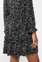 MANGO - Dress moss - black & brown