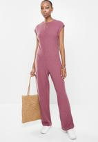 edit - Sleeveless ribbed knit jumpsuit - rose