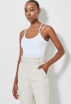 Superbalist - Rib double strap bodysuit - white