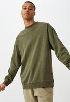 Cotton On - Pigment dyed oversized crew - washed khaki