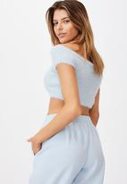 Factorie - Fluffy knit off the shoulder top - blue