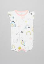POP CANDY - Rainbow & clouds romper - white