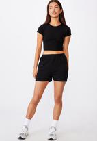 Factorie - Super slim fitted fleece short - black