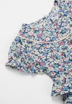 POP CANDY - Girls ruffle floral romper - blue
