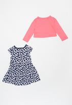 POP CANDY - Girls printed dress & cardigan set - navy & pink