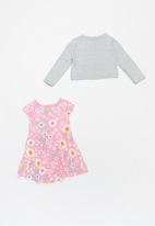 POP CANDY - Girls printed dress & cardigan set - pink & grey