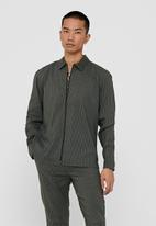 Only & Sons - Elyas long sleeve checked stretch zip - olive