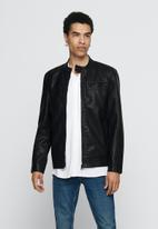 Only & Sons - PU biker jacket - black
