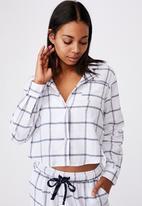 Cotton On - Flannel sleep shirt  - oversized check white