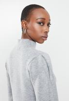 Missguided - High neck marl pleat sleeve mini dress - grey