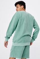 Factorie - Reverse fleece crew - washed cool mint