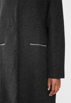 edit - Textured structured melton coat - black