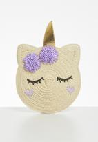 Cotton On - Raffia unicorn jayme critter bag - neutral & purple