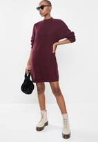Missguided - High neck ribbed dress - burgundy