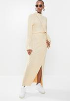 Missguided - Asymmetric roll neck jumper co ord - stone