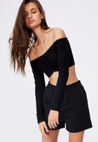 Factorie - Long sleeve ruched front off shoulder top - black