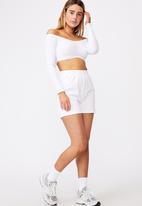 Factorie - Long sleeve ruched front off shoulder top - white