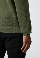 Superbalist - Pique crew neck knit - khaki green